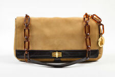 Lanvin Dark Khaki & Brown Suede Leather Resin Link Strap Turnlock Flap Bag
