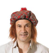 Para Hombre escocés escoceses Tartan sombrero con jengibre Cabello Fancy Dress Accesorio bh124