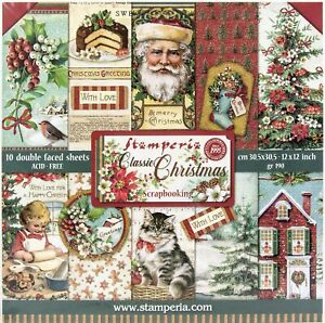 "Stamperia Double-Sided Paper Pad 12""X12"" 10/Pkg-Classic Christmas, 10 Designs/1"