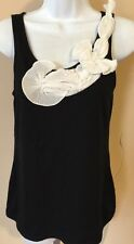 Banana Rebublic Black Tank Top Puffy Flowers On Top Size PS