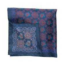 Sartorial Pocket Square Handkerchief Hand-Rolled in Italy Silk Blue Medallion