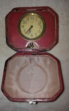 Antique Aristo 8 days travel watch clock in red case, please read