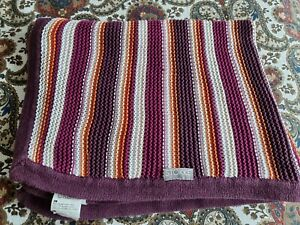 Stokke Multicoloured Stripe Stroller Knitted Pram Blanket with Poppers .