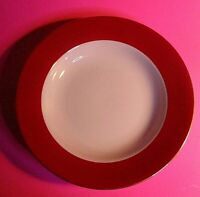 """Pair of (2) Ten Strawberry Street HALO RED Gold Rimmed Soup Bowl 8.25"""" by Monno,"""