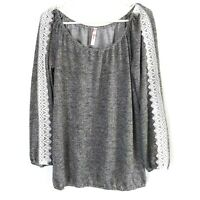 Women's J. Mode Scoop Neck Gray Long Sleeve White Lace Accent Blouse Size Large