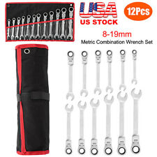 12Pc 8-19mm Flexible Metric Combination Wrench Head Ratchet  Spanner Tool Set