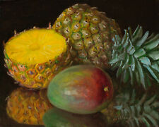 Original oil painting a day still life realism pineapple mango fruit 10x8 Y Wang