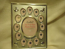 """MY BABY'S """"FIRST YEAR"""" PICTURE FRAME....SILVER METALLIC...7 1/4"""" X 9 1/4"""""""