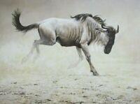 Vintage Art Robert Bateman Water Buffalo Amboseli Wildebeest Africa Safari Wild