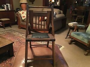 Antique Oak Folding Child's Chair with Leather Seat