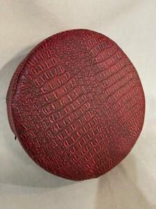 "Round Cushion foam bar stool chair 4""x13.5"" Gator black/red leather vinyl"