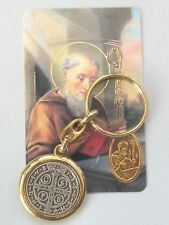 St Benedict Christian Religious Key Chain Ring with Prayer Card