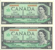 Canada Centennial of Canadian Confederation $1 One Dollar Consecutive Pair UNC