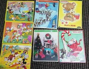 Vintage 1960-70s Puzzle Lot of 7 - Donald Duck, Disney, Whitman Santa Christmas