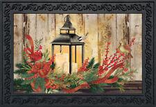 """Holiday Lantern Christmas Doormat Rustic Cardinals Indoor Outdoor 18"""" x 30"""""""