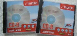 Lot of 2 NEW Imation CD-R Writable Blank Discs 700MB 80min 4X