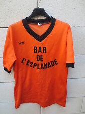 VINTAGE Maillot BAR L'ESPLANADE orange LE ROC porté n°7 football 80's shirt 4/5