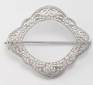 Platinum and White Gold Filigree Ladies Pin Brooche