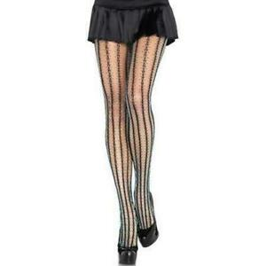 Thorn Net Black and Turquoise Contrast Pantyhose, Leg Avenue Vertical Stripe