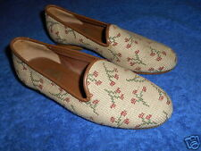 ERICA WILSON Needle WORKS ROSES Palm Beach Womans Loafer SHOES Sz 5.5M  Spain