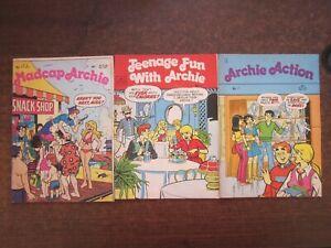 3 x ARCHIE COMIC BOOK MAGAZINES Teenage Fun, Action, Madcap Archie