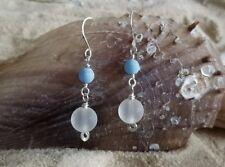 Nautical Blue & Frosted Crystal Sea Glass Drop Earrings ~ Beach ~ icandyrocks