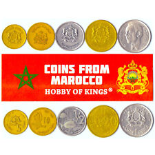 5 MOROCCAN COINS DIFFERENT NORTH AFRICAN COLLECTIBLE COINS FOREIGN CURRENCY