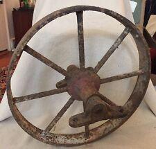 "Antique Farm Barn Wagon Wheel-8 Spoke14"" Wheel & Axel Industrial Steam Punk"