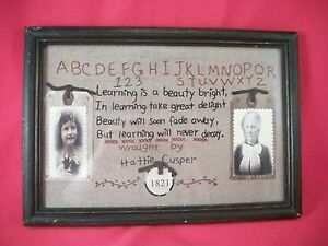 Framed sewn poem pictures circa 1821 ABC's faux vintage art learning teacher