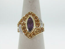 Purple Amethyst Citrines Genuine Diamonds Solid 10K Yellow Gold Ring FREE Sizing
