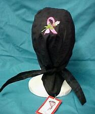 Pink Ribbon Rose Black Cancer Hat Durag Cap Cotton Unisex One Size New