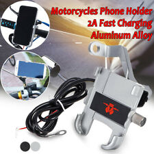 360° Universal Motorcycle Handlebar/Rearview Phone Holder Mount 2A USB