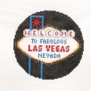 Silver Needle Las Vegas Travel Round Handpainted Needlepoint Canvas