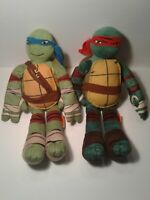 "2 Ninja Turtles Plush Stuffed Dolls 16"" TMNT Leonardo/ Raphael"