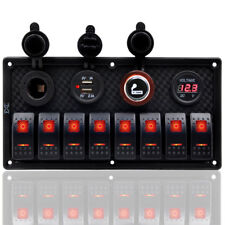 12V/24V 8 Gang Car Boat Campervan Camper Red LED Switch Panel Dual USB Charger