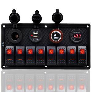 12V/24V 8 Gang Car Boat Campervan Camper Red LED Switch Panel Dual USB Charger