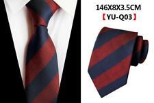 Tie Silk Navy Blue Red Stripe Patterned Wedding Mens Necktie 100% Silk UK Seller