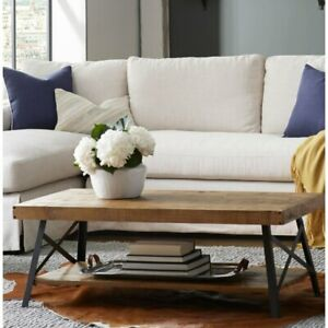 Kinsella Coffee Table with Storage Open Shelf Wood  Smart home