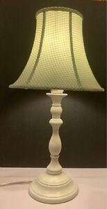 Pottery Barn Kids Off White Lamp with Green White Gingham Lamp Shade