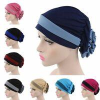 Femmes musulman Stretch Flower Turban Hat perte de cheveux foulard bonnet