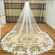 Luxury 1 Tier 3 x 3M Cathedral Length Bridal Wedding Veil Lace Edge With Comb