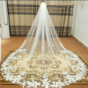 UK Luxury 1 Tier 3 x 3M Cathedral Length Bridal Wedding Veil Lace Edge With Comb