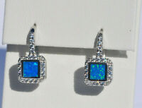 Echt 925 Sterling Silber Ohrringe mit Zirkonia blau synth. Opal Hochzeit Nr 281