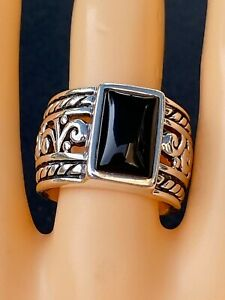 SILPADA Ring #R1096 Sterling Silver Black Filigree Chalcedony Wide Band Sz 9.25