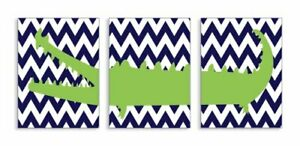 The Kids Room by Stupell Alligator On Navy Chevron 3-Pc Rectangle Wall Plaque...
