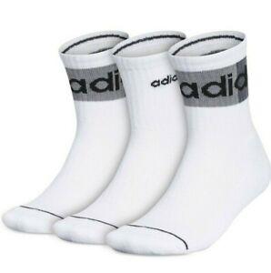 Adidas Men's White Linear II High Quarter Socks 3 Pack