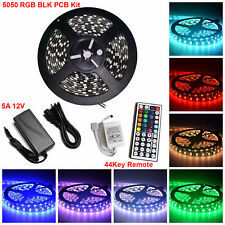 5M SMD RGB 5050 Black PCB Waterproof 300 LED Strip 44Key Remote 12V 5A Power Kit