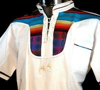 White Guayabera Latin Casual Shirt Cotton Mexico Embroidered Manta Cotton SZ L