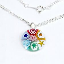 Rainbow Glass Flower Pendant Nacklace. Silver Chain with Murano Millefiori