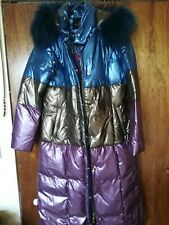 Great Womans Long Puffy Coat.New!Purple/blue/brown color.Size XL.Real fur.